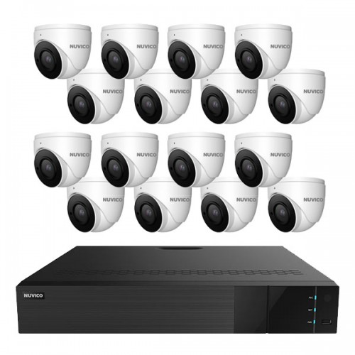 TNP3208AI-8MLE16 Nuvico Xcel Series 32 Channel 4K NVR Kit 256Mbps Max Throughput - 8TB Built-in 16 Port PoE and 16 x 8MP 2.8~12mm Motorized Outdoor IR Eyeball IP Security Cameras