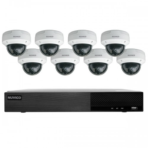 TNP84-4MOV8 Nuvico Xcel Series 8 Channel NVR Kit 50Mbps Max Throughput - 4TB Built-in 8 Port PoE and 8 x 4MP 2.8mm Outdoor IR Vandal Dome IP Security Cameras