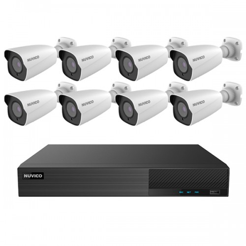 TNP84-5MLB8 Nuvico Xcel Series 8 Channel NVR Kit 50Mbps Max Throughput - 4TB Built-in 8 Port PoE and 8 x 5MP 2.8mm Outdoor IR Bullet IP Security Cameras